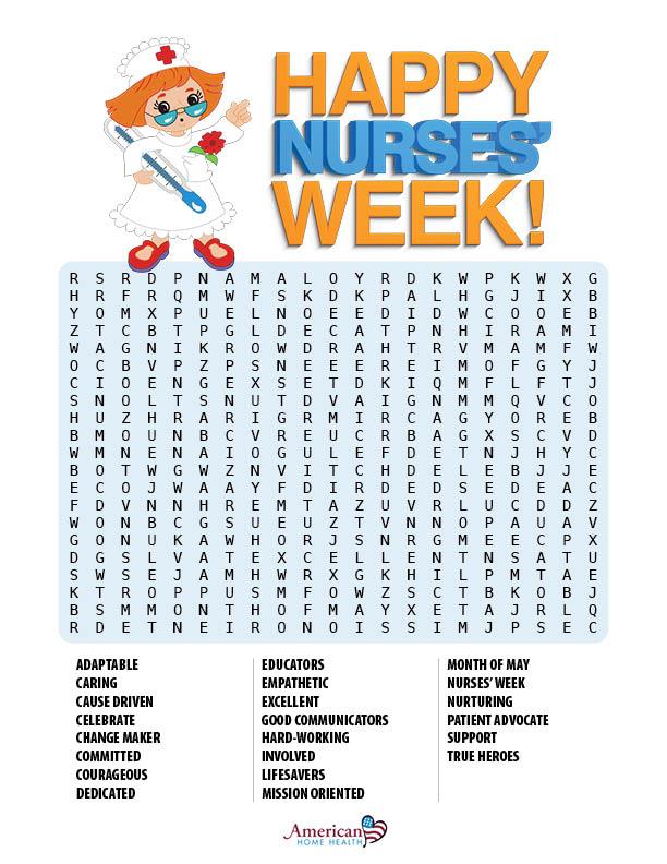 Happy Nurses' Week! - Word Search Puzzle