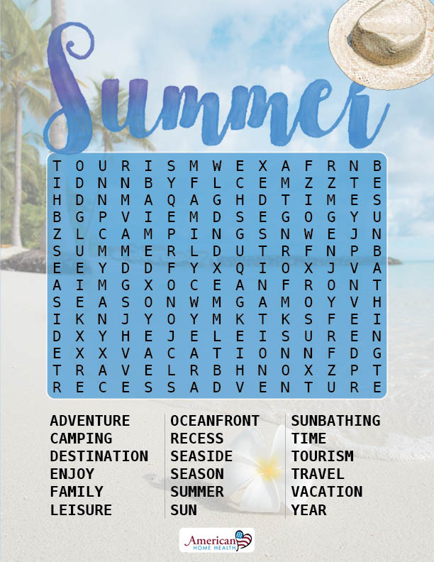 Summer - Word Search Puzzle - Easy Format for People