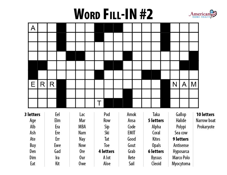 Word Fill-IN - Crossword- Number two
