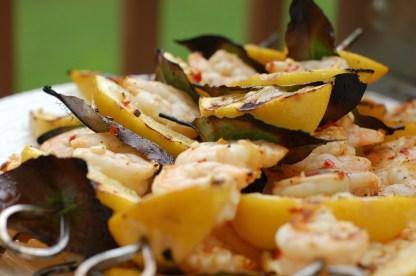 Lemon and Bay Leaf Shrimp Skewers grilled 1