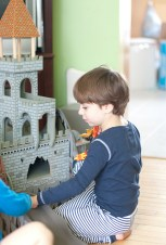 Colin playing with the new castle