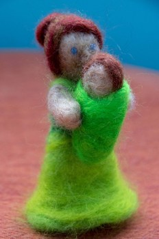 Needle Felted mama and baby