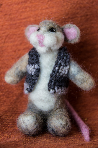 Needle Felted Mouse with Crocheted vest