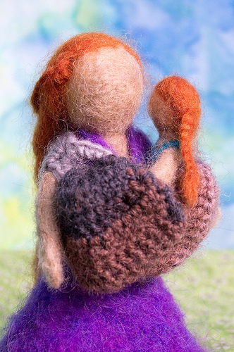 Needle Felted Breastfeeding Mom and Toddler with ring sling