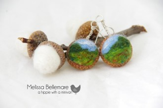 Scenery Earrings (Needle Felted in Acorn top)