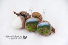 Scenery Earrings (Needle Felted in Acorn top)