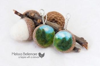 Tree scenery Earrings (Needle Felted in Acorn top)