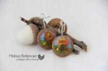 Fall scenery Earrings (Needle Felted in Acorn top)