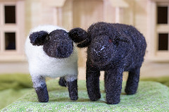 Needle felted sheep made with undyed wool