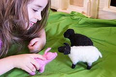 Needle felted pig and sheep