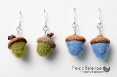 Needle Felted Acorn earrings