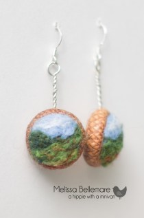 Needle Felted Scenery Earrings