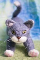 Needle Felted Grey Cat