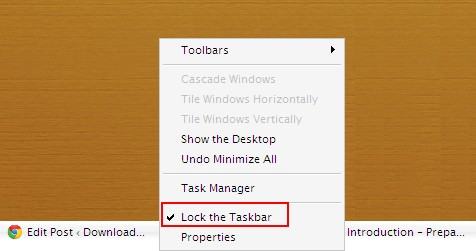 Lock Windows Taskbar