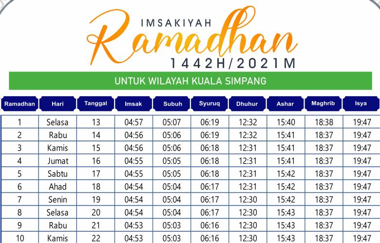 Jadwal Imsakiyah Ramadhan Kuala Simpang 2021