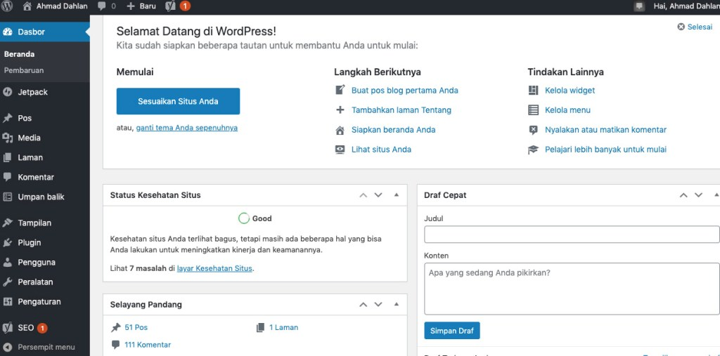 Tampilan Dashboard Worpdpress