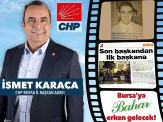 İSMET KARACA CHP İL BAŞKANI AFİŞ SON BAŞKANDAN İLK BAŞKANA