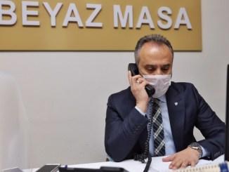 BEYAZ MASA ÇAĞRI MERKEZİNDE BAŞKAN ALİNUR AKTAŞ TELEFONLMARA CEVAP VERDİ