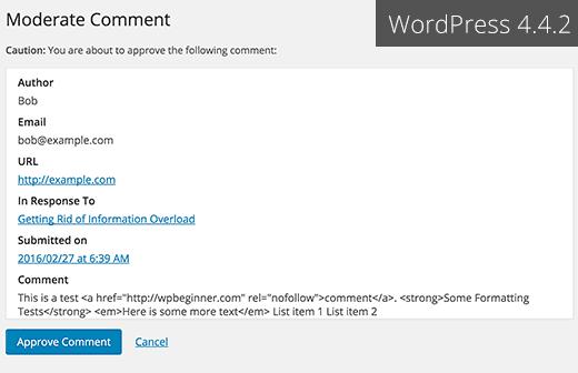 Wordpress 4.4.2 Eposta Yorum Denetimi