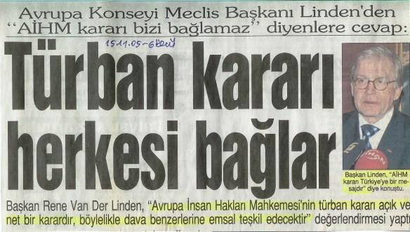 Türban kararı herkesi bağlar, AİHM, 2005