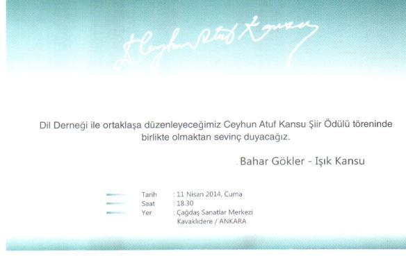 ceyhun atuf kansu ödül töreni davetiyesi-2014