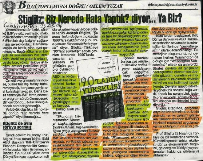 Stiglitz, 90'ların Yükselişi