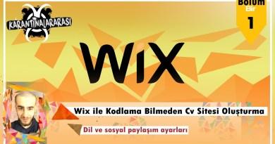 """Wix ile Kodlama Bilmeden Cv Sitesi Oluşturma Bölüm 1 """"Dil ve Sosyal Paylaşım"""""""