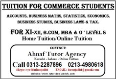 bcom home tutor in karachi o-level a-level private tutor and home tuition