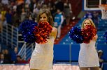 Two Rock Chalk Dancers dance to the beat of the Wave The Wheat song at the women's basketball game against Fort Hays State on Oct. 30. The Jayhawks won 98-71. Ashley Hocking/KANSAN