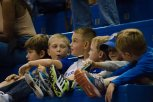 Young KU fans watch the game at the women's basketball game against Fort Hays State on Oct. 30. KU won 98-71. Ashley Hocking/KANSAN