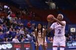 Sophomore McKenzie Calvert, a guard from Schertz, Texas, shoots a free throw during the women's basketball game at Allen Fieldhouse on Nov. 23 against Oral Roberts University. The Jayhawks won 64-56. Ashley Hocking/KANSAN
