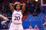 Guard Jayde Christopher, a sophomore from Federal Way, Wash., prepares to pass the ball to a teammate during the second half of the women's basketball game on Nov. 27. Kansas beat North Dakota 76-71 in overtime. Ashley Hocking/KANSAN