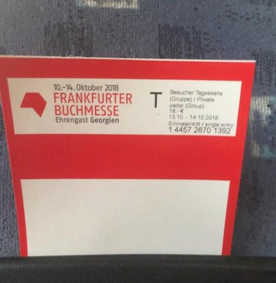 Mein Ticket für die Frankfurter Buchmesse