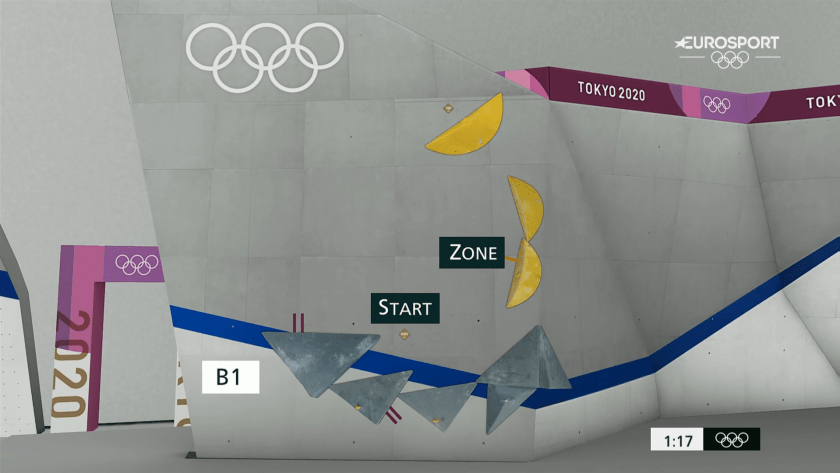 First boulder of the olympic finals 2021