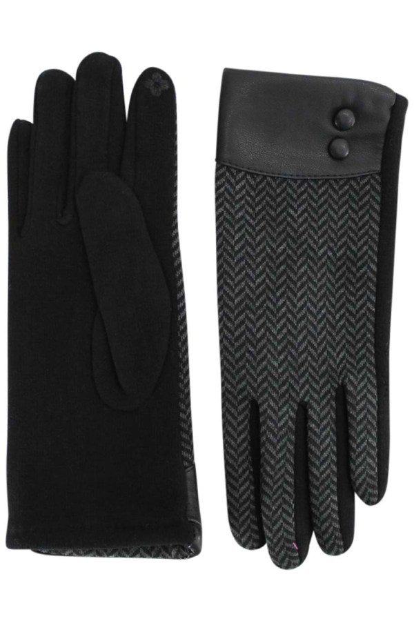 Black Herringbone Texting Gloves With Double Buttons & Leather Trim