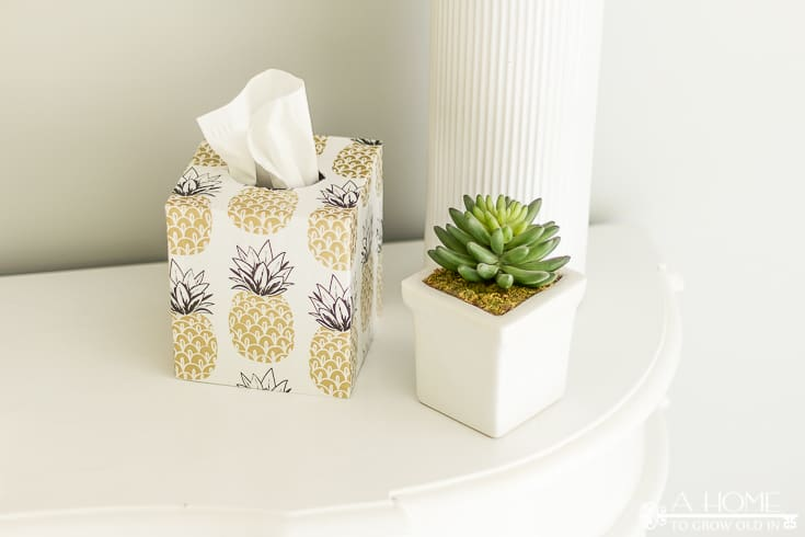 This beautiful tissue box is an easy and inexpensive DIY update that can be customized to fit the decor of any room in your home! No more ugly tissue boxes! Pin it now so you don't forget it when you need it!