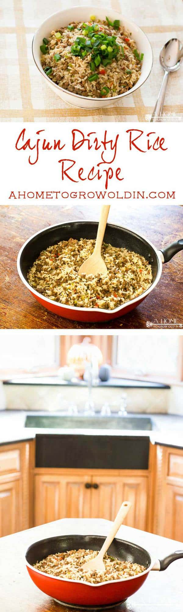 Check out this delicious recipe for cajun dirty rice! It's a great make-ahead side dish for Thanksgiving, Christmas, or any family meal. Perfect with your fried turkey! Pin this for the holidays!
