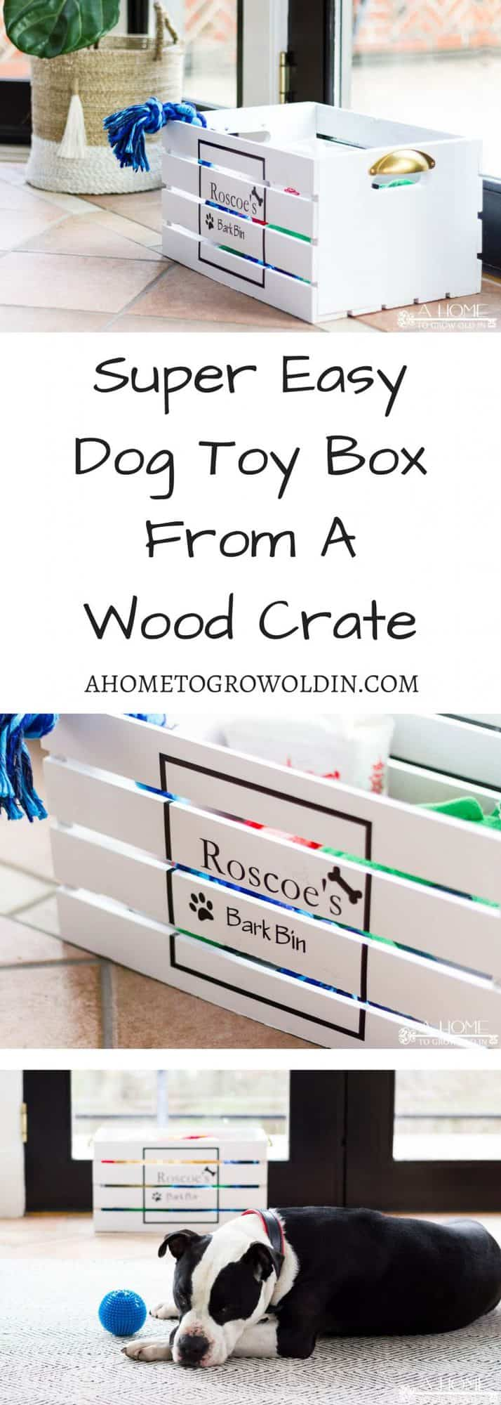 Using a wooden crate is a super easy way to make a toy box for your pampered pet! You'll be ready to start organizing your dog toys in just a few of hours! Includes a free Silhouette cut file.