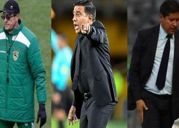 Los tres entrenadores de Bolivia durante la gestión Salinas. Fotos- Archivo