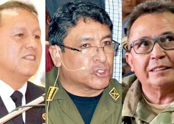Los excomandantes de la Armada, almirante Flavio Arce (aprehendido); de la Policía, general Yuri Calderón (con orden de aprehensión); y de las FFAA, Williams Kaliman (con orden de aprehensión). ARCHIVO