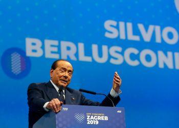 Silvio Berlusconi, Italian former Premier and President of Forza Italia (Go Italy) party speaks during the European Peoples Party (EPP) congress in Zagreb, Croatia, Thursday, Nov. 21, 2019. (AP Photo/Darko Vojinovic)