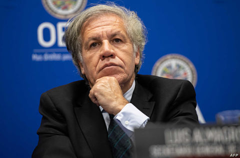 OAS Secretary General Luis Almagro speaks about the situation in Venezuela during a press conference at the Organization of American States Headquarters in Washington, DC, July 12, 2019. (Photo by SAUL LOEB / AFP)