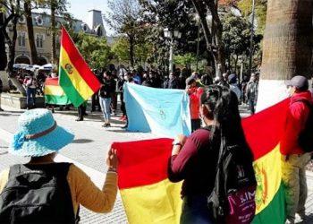 Protesta de policías jubilados y esposas de policías, la semana pasada. | Hernán Andia