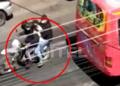 Tres sujetos en una motocicleta, sospechosos de un atraco