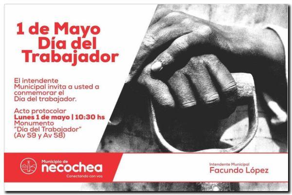 NECOCHEA: Hoy 1º de Mayo es el acto oficial por el Día del Trabajador