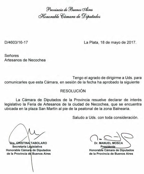 LEGISLATURA: Declaración de interés legislativo feria de artesanos Necochea