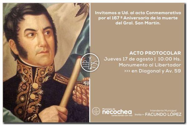 NECOCHEA: Acto por el 167° Aniversario de la muerte del General San Martín