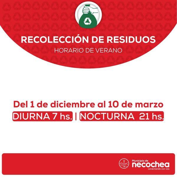 NECOCHEA: Cambio de horarios en el servicio de recolección