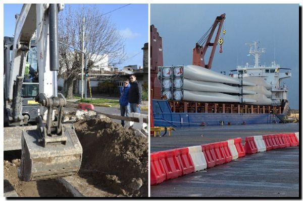 NECOCHEA: Avanzan las obras en la Av. 10 y llegan las aspas del Parque Eólico