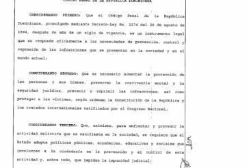 Poder Ejecutivo promulga Ley del Código Penal
